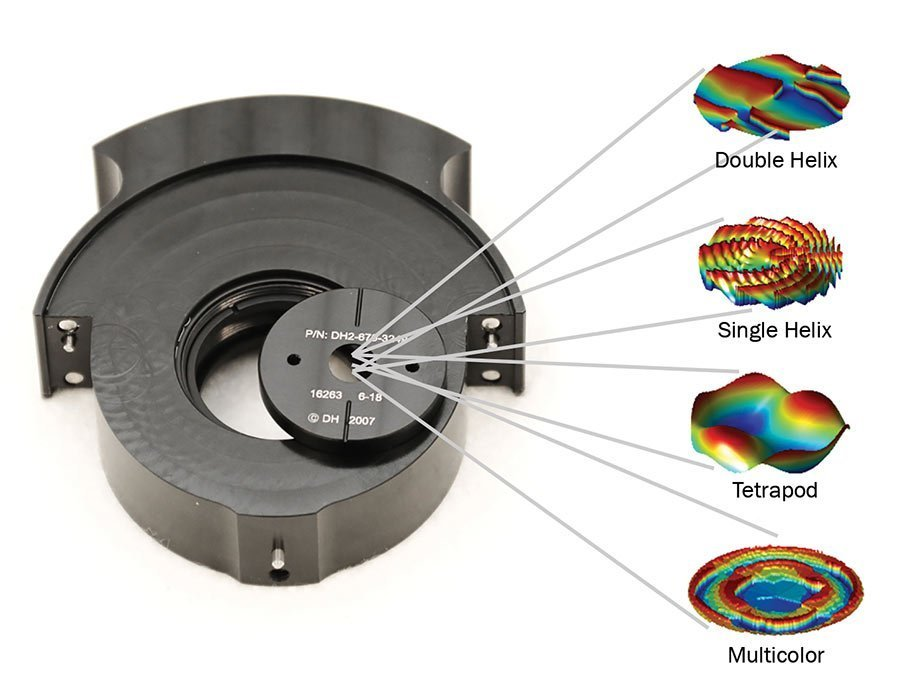 An optical phase plate in its holder, with point spread function (PSF) designs that can be etched on the phase plate. Courtesy of Double Helix Optics.